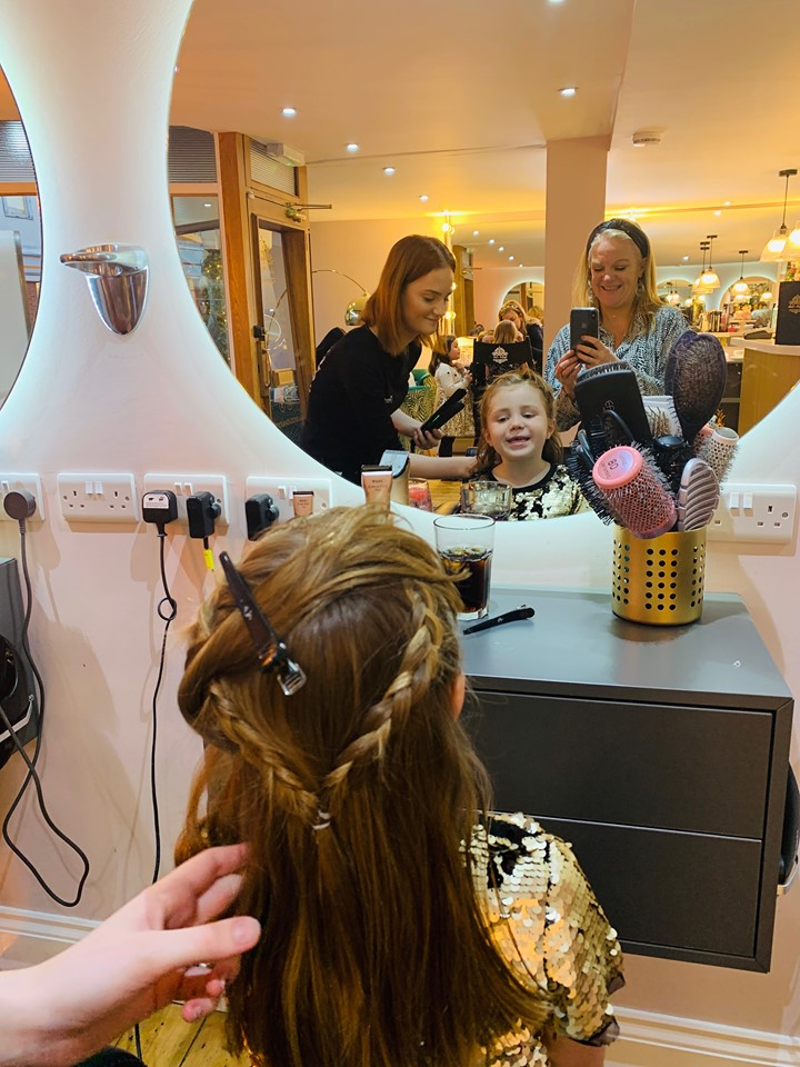 little girl having a pamper party