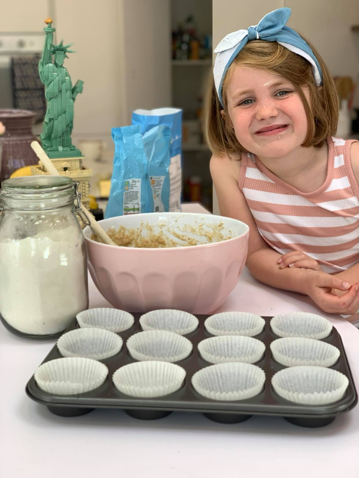 Baking with children easy banana and blueberry muffin recipe