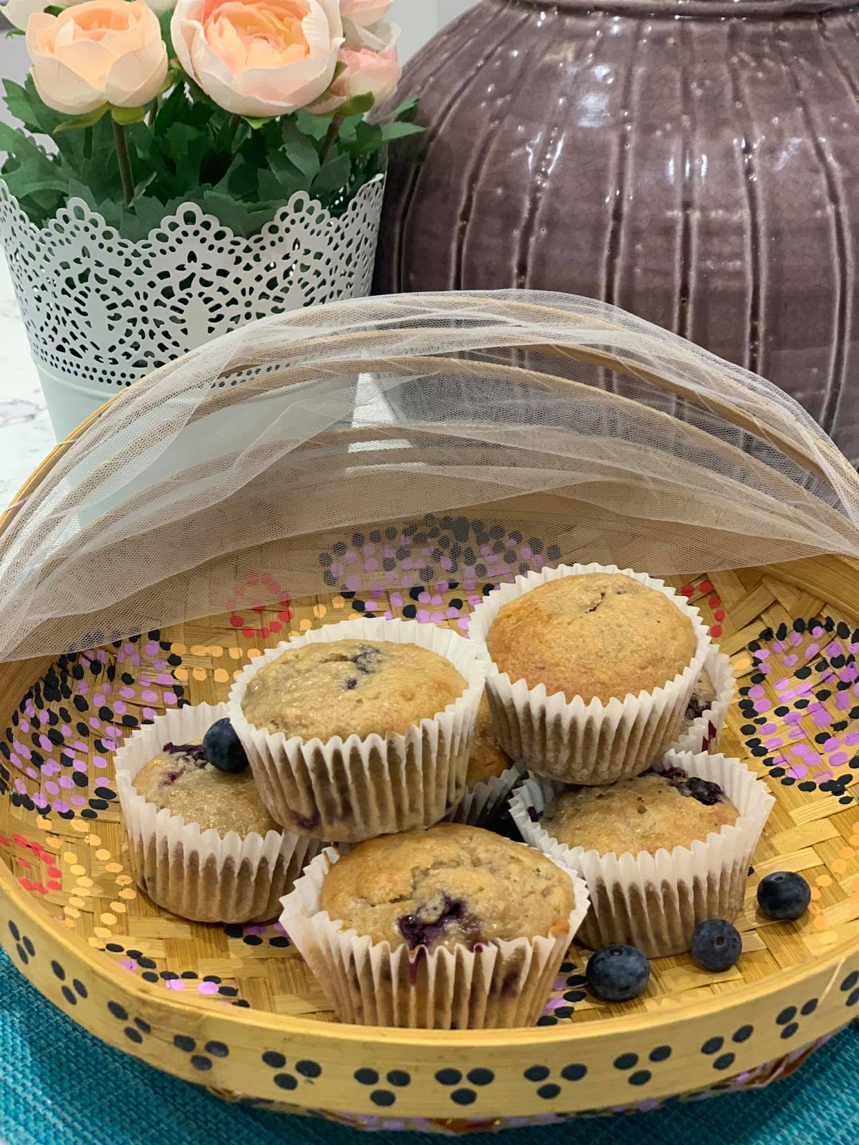 Homemade Banana and Blueberry Muffins