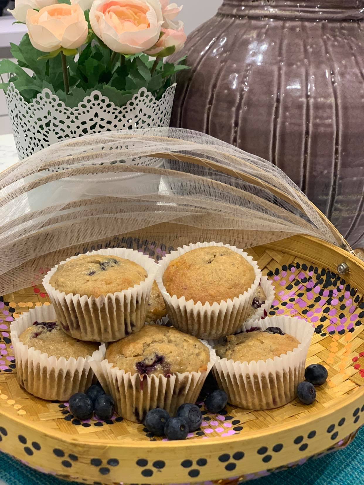 close up fresh banana and blueberry muffin recipe