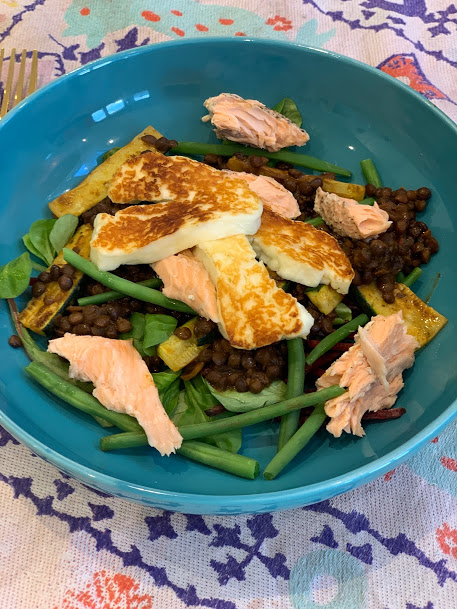 Salmon, halloumi green bean lentil recipe
