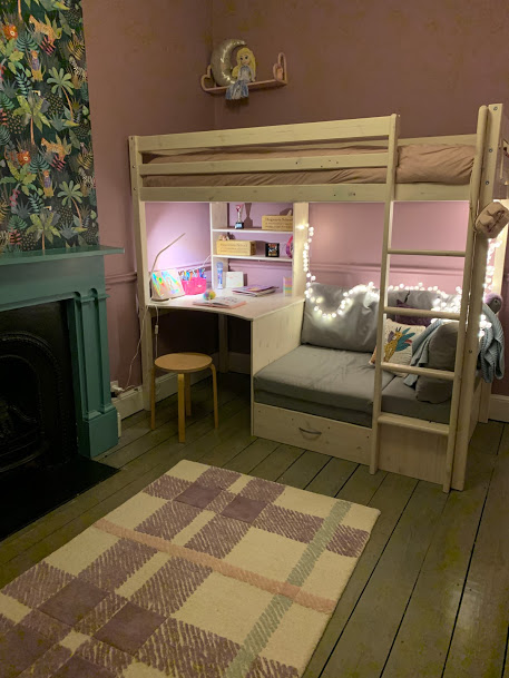 a suffolk mum blog, girls purple and teal bedroom ideas, cabin bed with desk and sofa, bright feature wallpaper