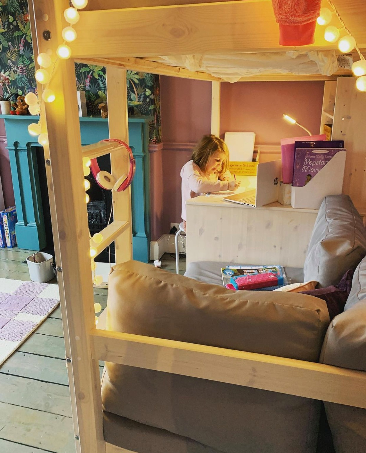 a suffolk mum blog, little girls desk area decor, cabin bed with desk, purple and teal bedroom
