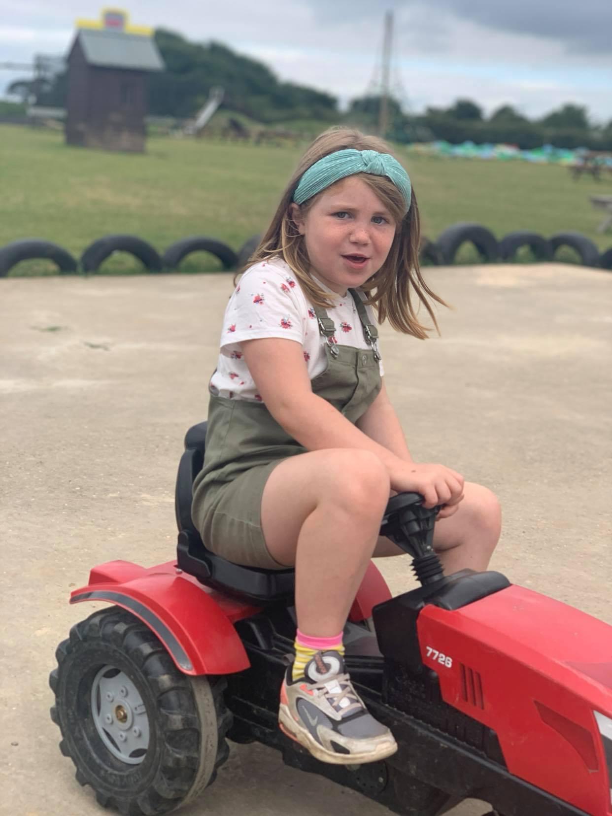 Hirstys family fun park hemsby, ride along tractors, a suffolk mum blog review